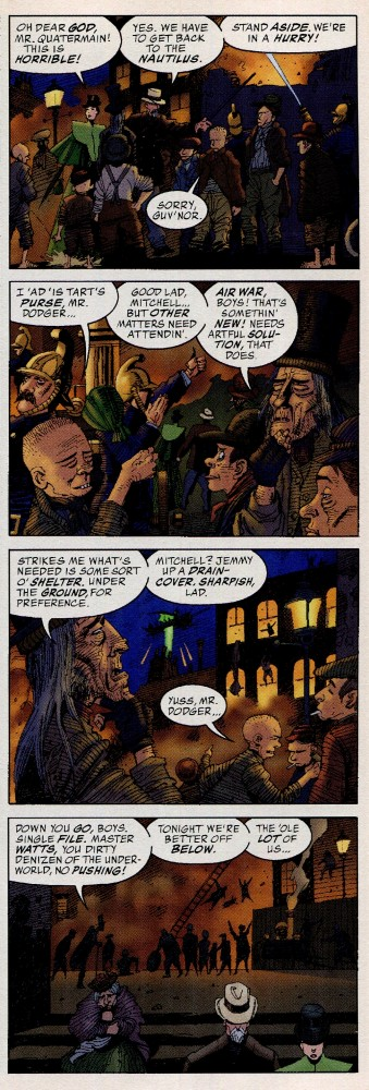 That's Dickens's Artful Dodger leading ancestors of the Watts and Mitchell families from The EastEnders while referencing the future Blitz of WWII.